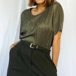 Olive green vintage 90s textured boxy t-shirt